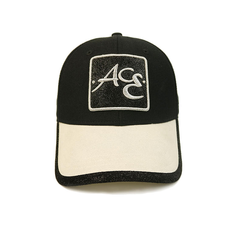 Black and white 6panel Metal Buckle 3D Logo ACE Baseball Hats Caps For Men