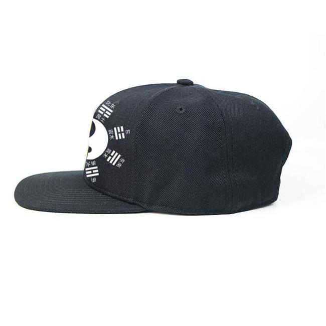 High Quality Chinese Style Yin Yang Silk Print Logo Snapback Flat Brim Cap Hat