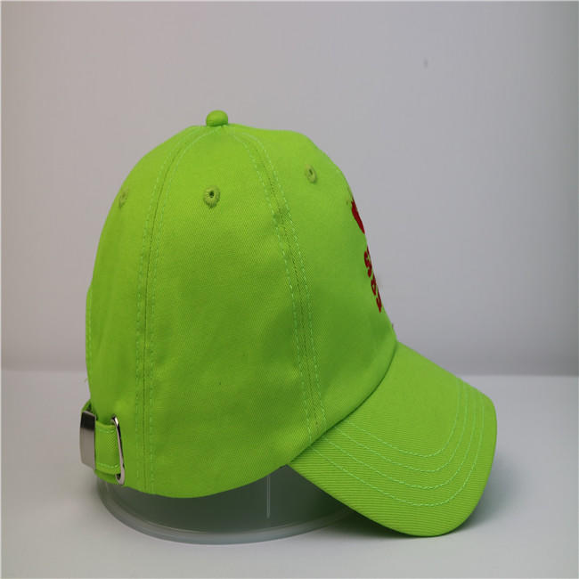 High-end Solid Color Green Embroidery Baseball Curve Brim Cap Hat