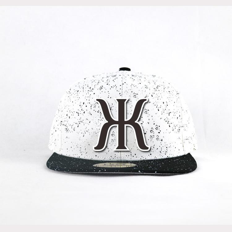 Flat bill 5panel black spots Customized 3D rubber logo hip hop snapback Hats Caps