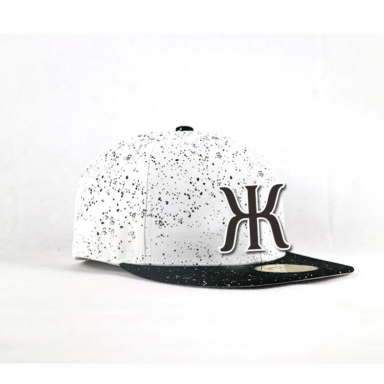 Flat bill 5panel black spots Customized 3D rubber logo hip hop snapback Hats Caps