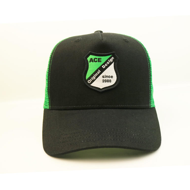 Black And Green Custom Logo Ace Embroidery Patch 5 Panel Mesh Running Trucker Hats