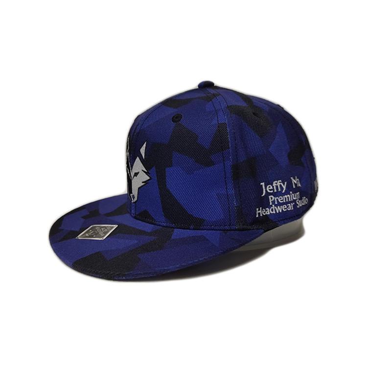 Screen Printting Logo 6 Panel Flat Brim Custom  Snapback Cap Hats Bsci