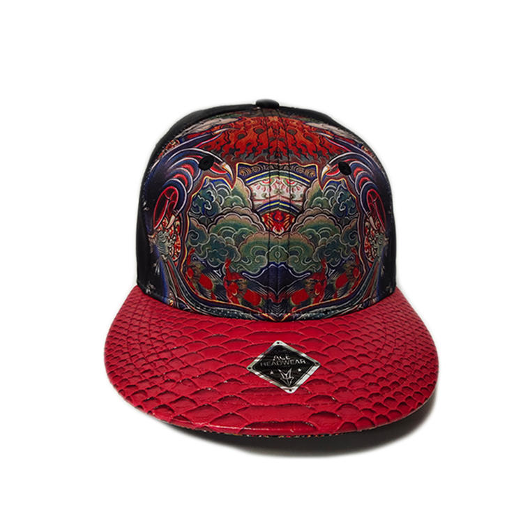 Flat embroidery sublimation material satin snapback cap with PU brim