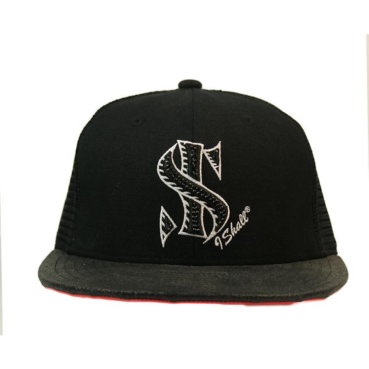 Custom 3D Embroidery Rhinestone Logo Flat Brim Black 5 Panel Trucker Cap hat