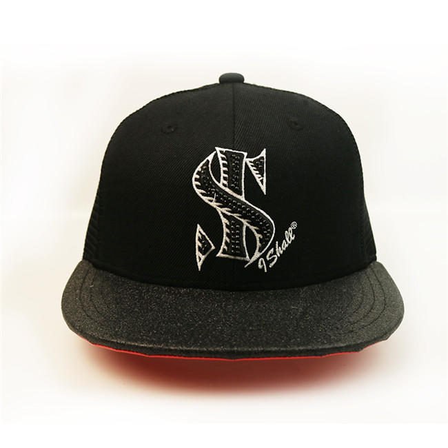 Factory Price Unisex Print Embroidery Fabric Snapback Mesh Flat Brim Cap Hat
