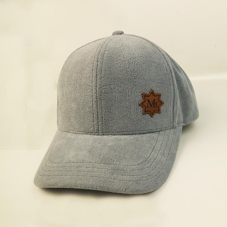Bsci Polyester Plush Baseball Cap With Leather Patch Custom Logo