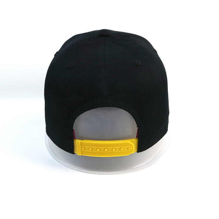 Custom black printed star 6panel yellow plastic buckle baseball hats caps