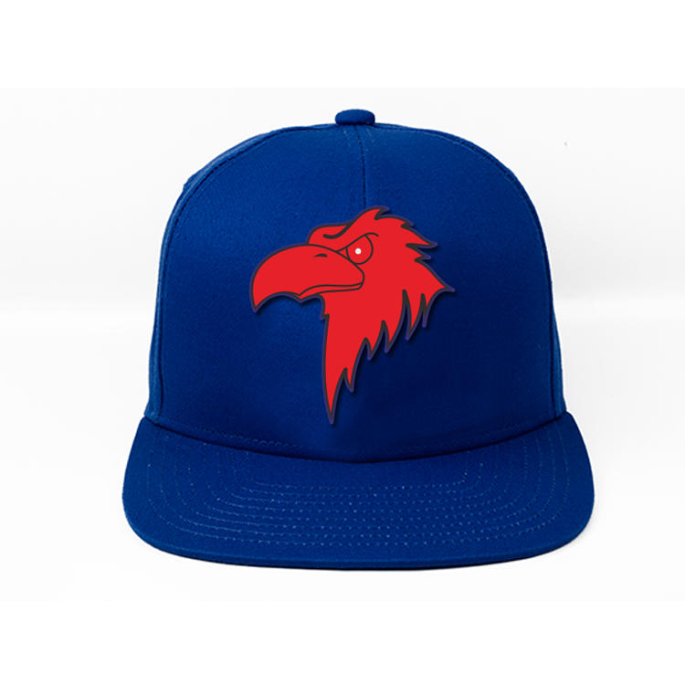 Size 58cm Flat Brim Snapback Hats Navy Blue Plastic Buckle Eagle Logo
