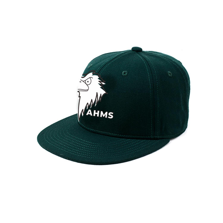Dark green 6panel 7holes plastic buckle custom design rubber eagle logo snapback hats caps