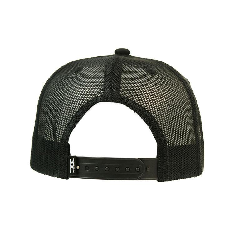 Custom Logo Adjustable Snapback Trucker Cap Mesh Hat Flat Bill Black