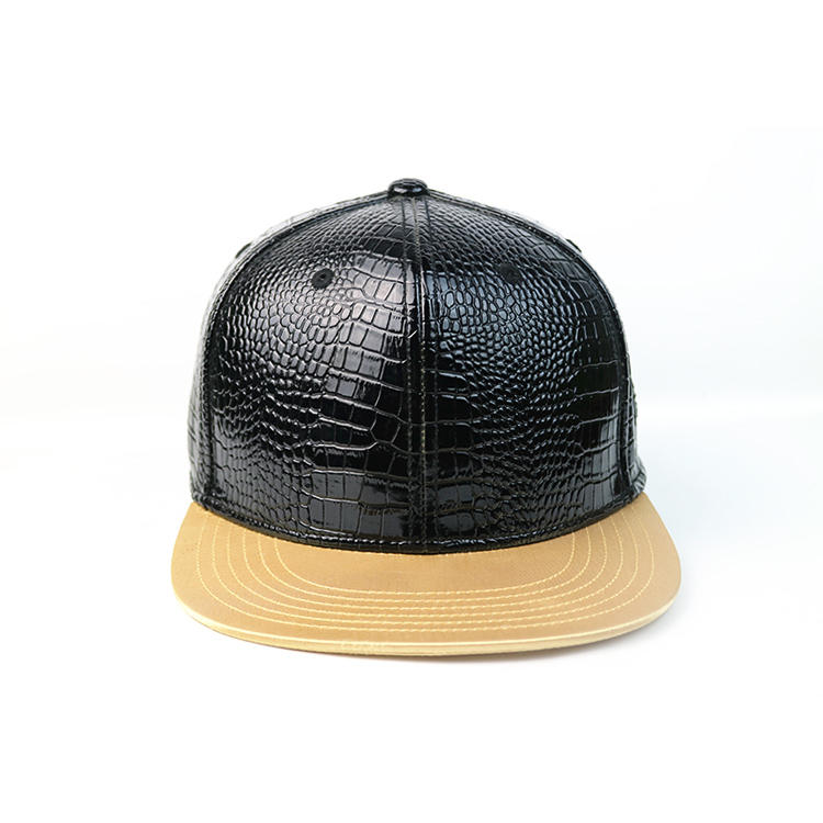 Fashion custom design metal badge logo black structured OEM snapback hat leather material hot hip hop style cap hat