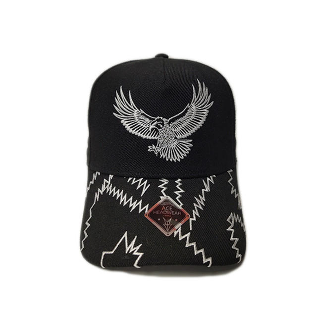 ACE Unisex Custom Outdoor Hip Hop Flat Embroidery Logo for Panels Bill Baseball Sports Black Cap
