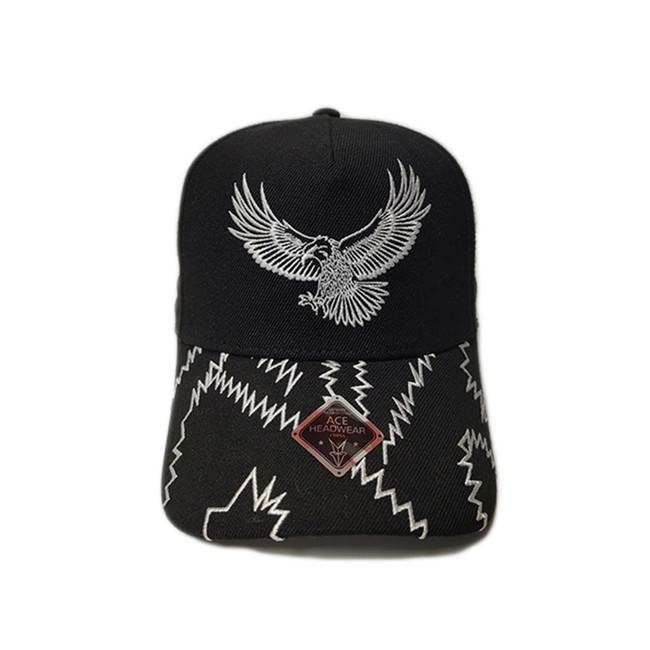 ACE Unisex Custom Outdoor Hip Hop Flat Embroidery Logo for Panels Bill Baseball Sport Black Cap