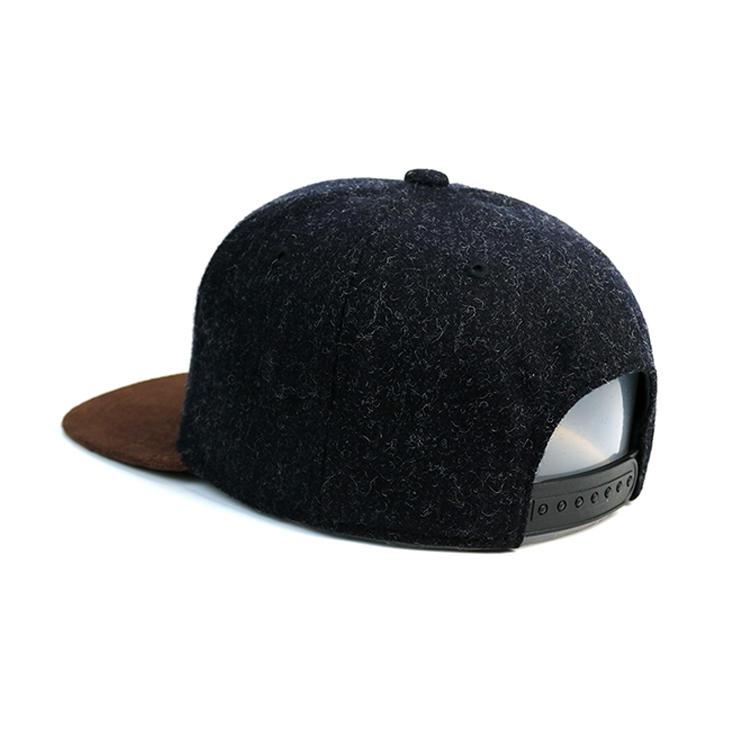 Guangzhou factory black custom snapback hats ACE leather patch logo