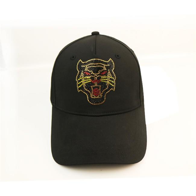 Animal Pattern Rhinestone Black Baseball Cap / Satin Baseball Cap Black Metal Buckle