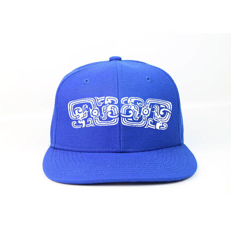 Blue Printed Flat Bill Hip Hop Snapback Caps Custom Made Logo Sticker