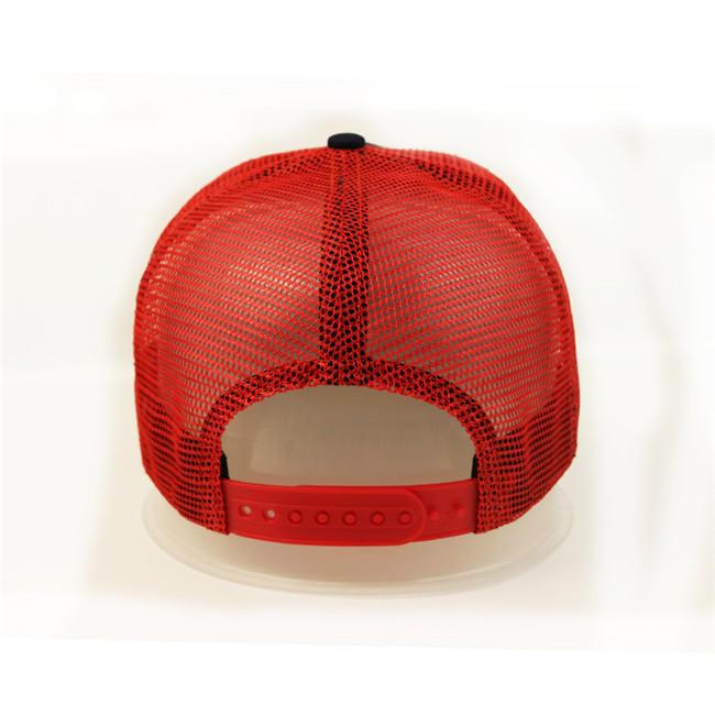 Anniversary Red Mesh 5 Panel Trucker Cap Custom Logo 3D Letter Embroidery Blank Cap