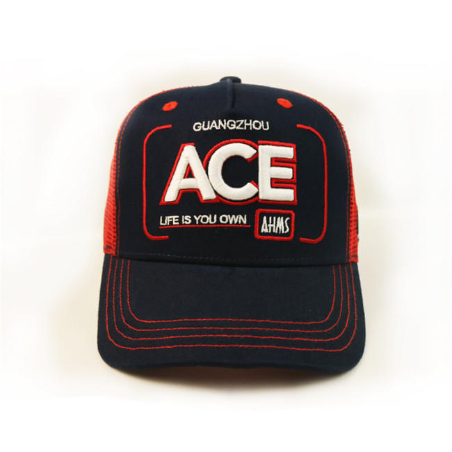 Anniversary Red Mesh 5 Panel Trucker Cap Custom Logo 3D Letter Embroidery Blank Cap