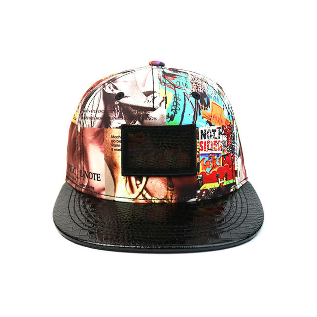High-end ACE Unisex OEM ODM Creative Graffiti Design Leather with Leather Patch Snapback Curve Brim Cap Hat