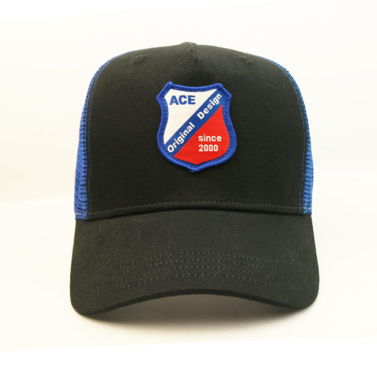 Custom design black and blue mesh embroidery patch trucker hats caps