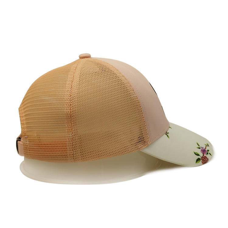 Wholesale Classic Custom Design Flower Printing S Logo Polyester Mesh Running Trucker Hats caps