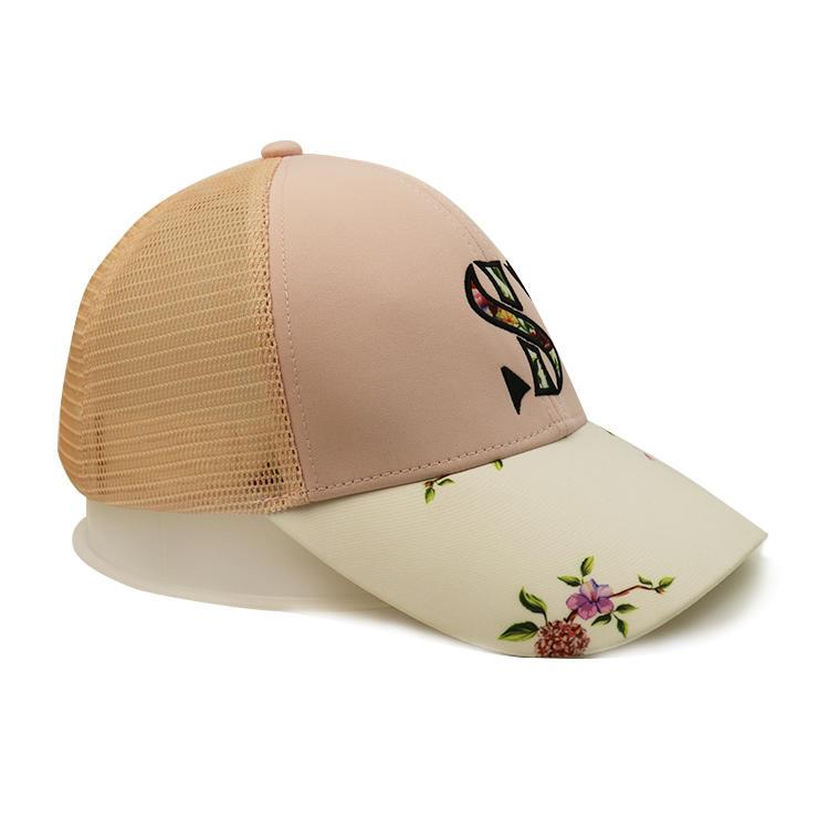 Wholesale Classic Custom Design Flower Printing S Logo Polyester Mesh Running Trucker Hats caps