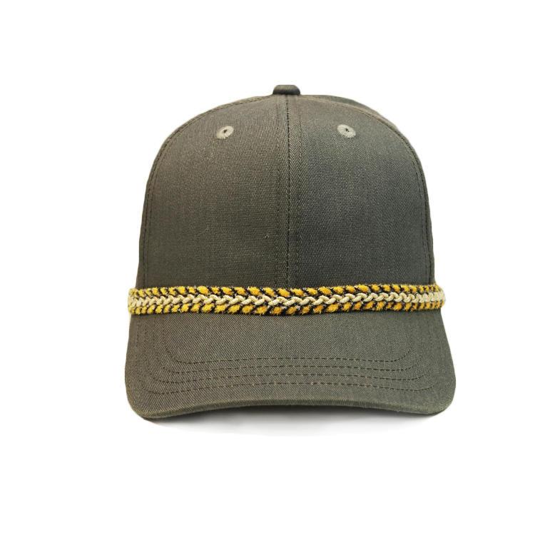 Custom design decorative rope plain black baseball caps hats