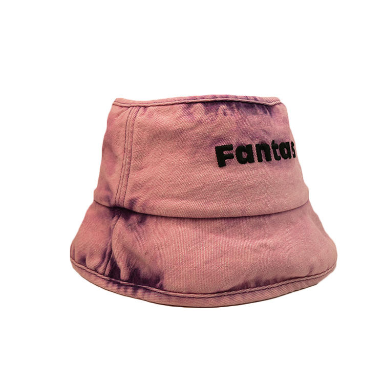 Custom design wide brim pink flat embroidery bucket hats caps