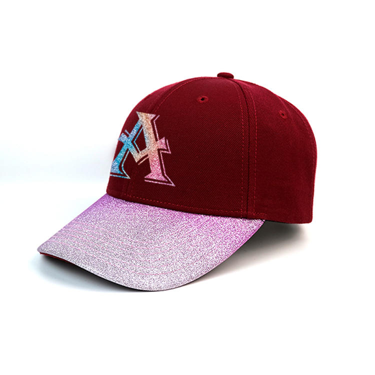 customized design  gradient ramp pink and red bling printing A logo baseball caps hats