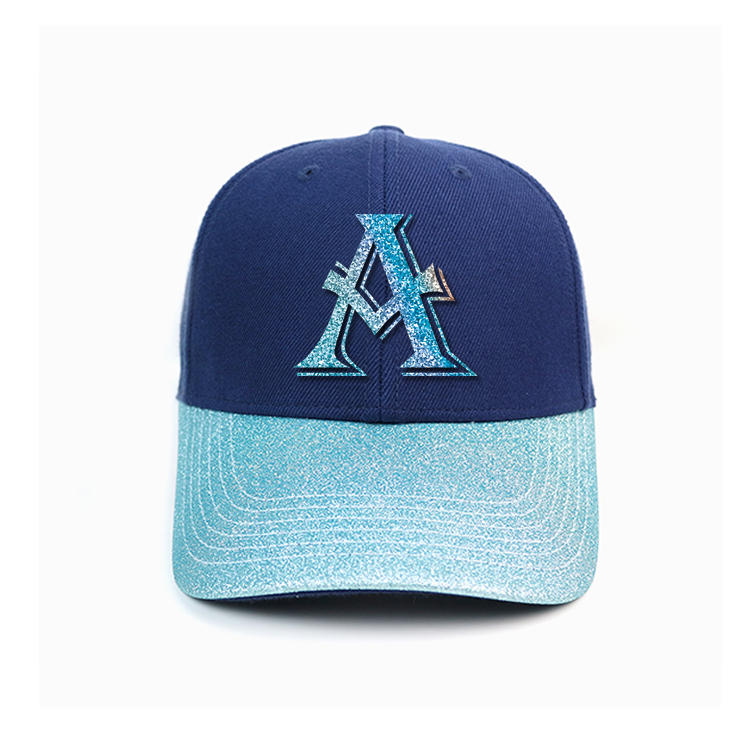 Customized blue bling curve brim metal buckle A printing logo baseball caps hats