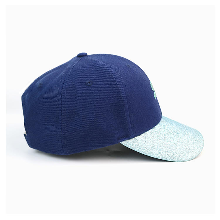 Customized blue bling curve brim metal buckle A printing logo baseball caps hats