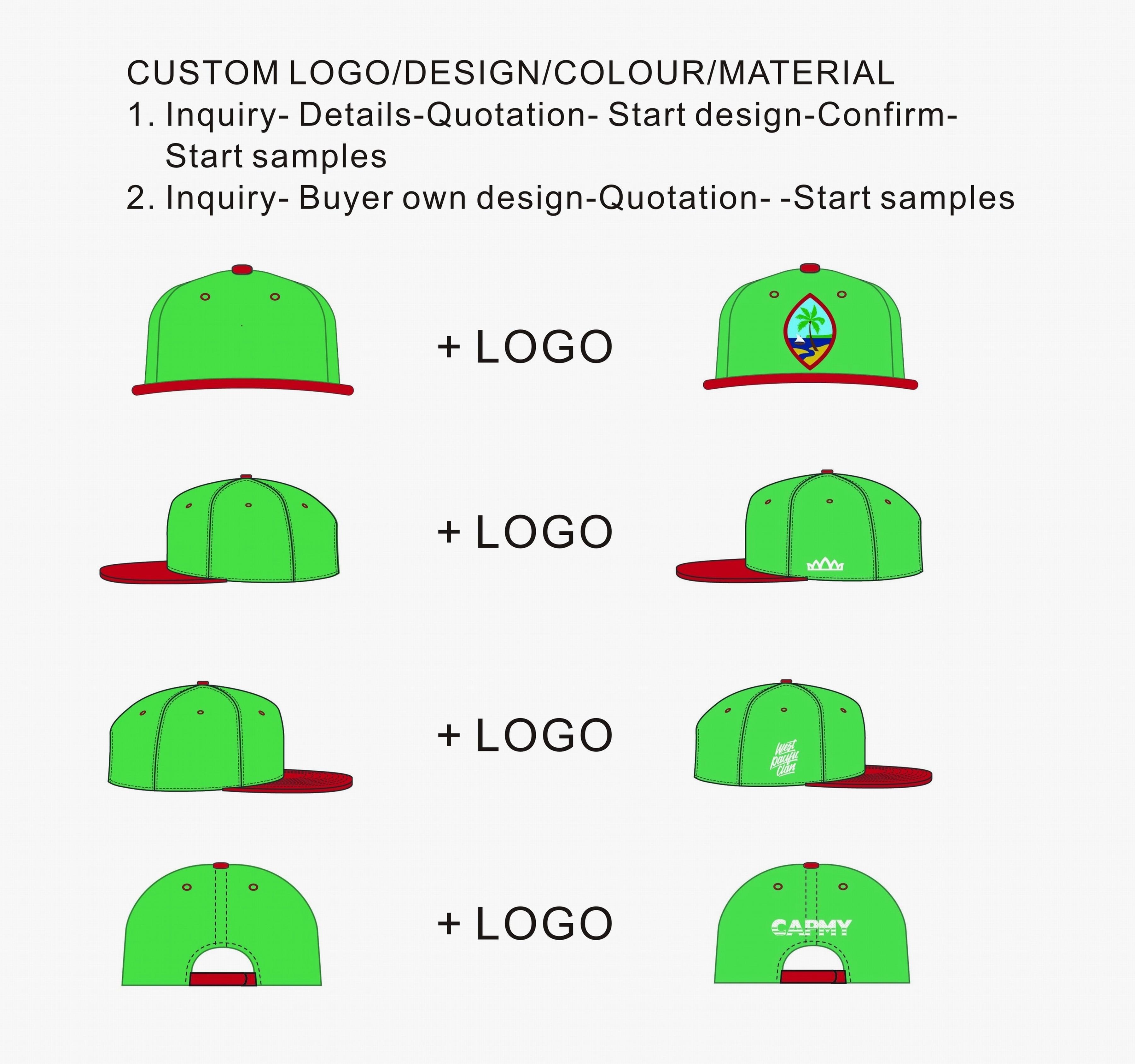Custom 100% Cotton Style caps 6 Panel Red Baseball Caps