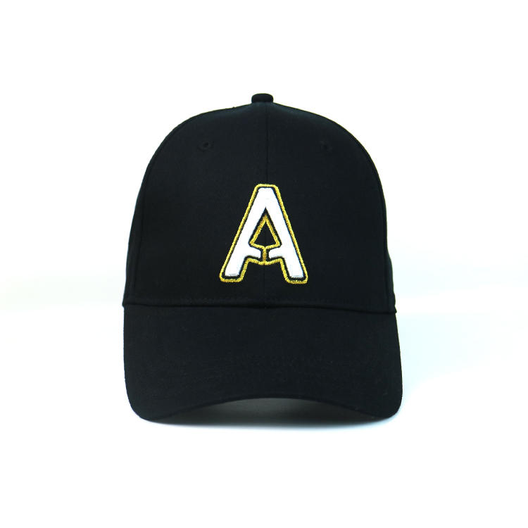 Wholesale black 6 Panel Baseball Cap 3D gold metalic Embroidery Snapback Sport Hat ACE brand