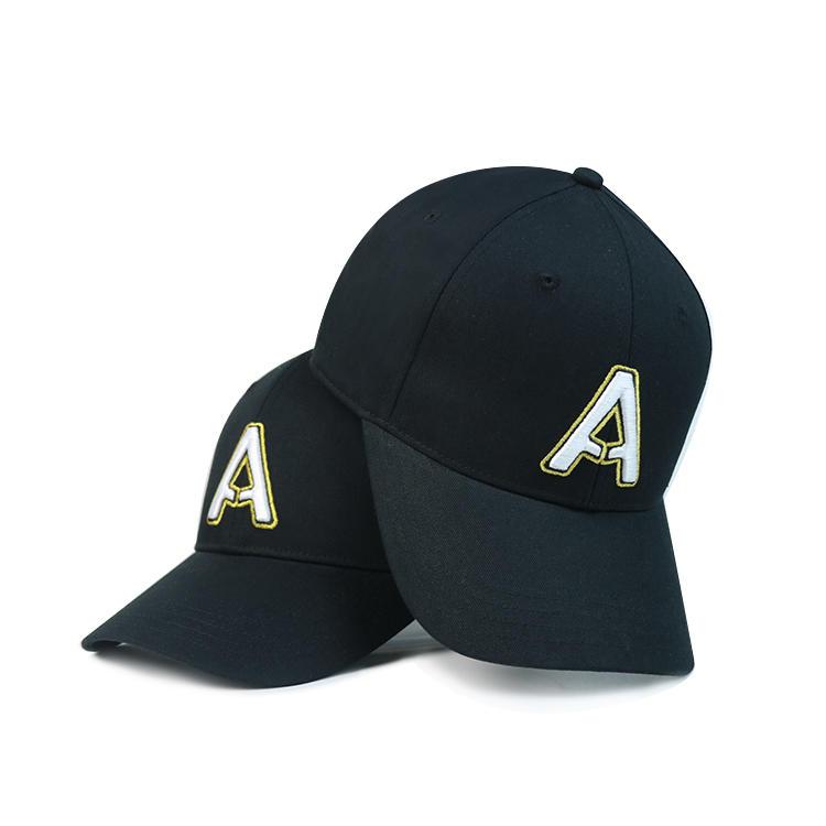 Wholesale black 6 Panel Baseball Cap 3D gold metalic Embroidery Snapback Sport Hat ACE brand