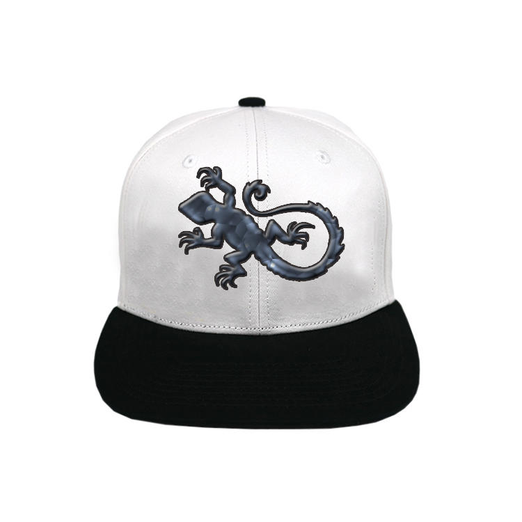 Custom Black 6 Panel Rubber Printing Vintage Gecko Snapback Hats