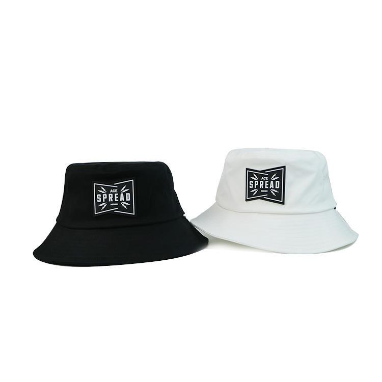Hot Sale Custom Fashion Fishing Bucket Hat Cap with Leather Patch
