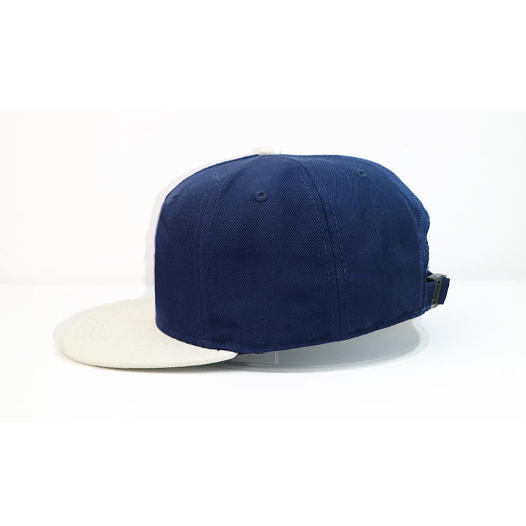 Custom design navy blue and white flat brim tiger printing plastic buckle snapback hats caps