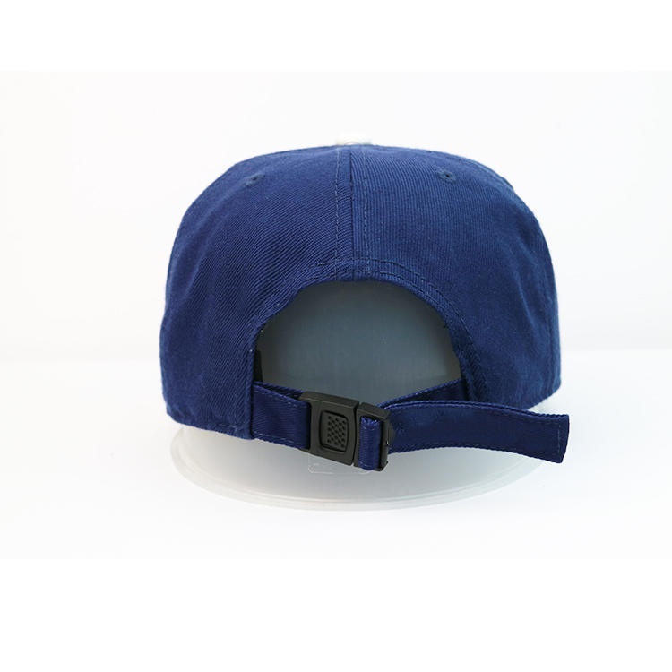 Custom design navy blue and white flat brim tiger printing plastic buckle snapback hats caps