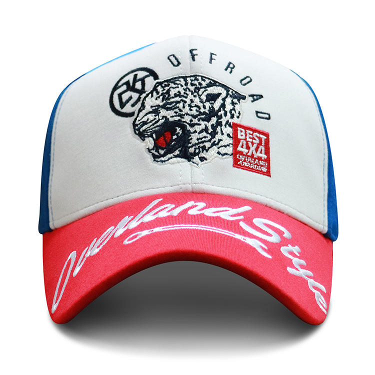 ACE High Quality Five Panels Multispandex Mesh Fabric Red Custom Embroidery Bill Curve Brim Baseball Cap