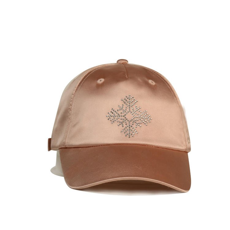 Special Silk Breathable Snow Rhinestone Pink Women Sports Baseball Hats