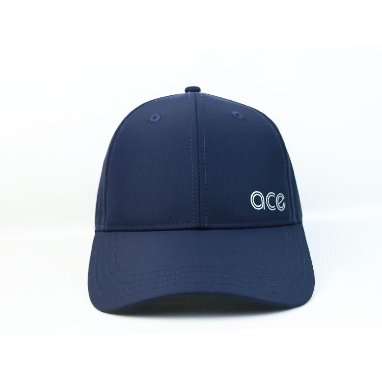 Custom Logo 6 Panel Plastic Buckle Navy Blue Ace Thick Plate Printing Sports Baseball Hats