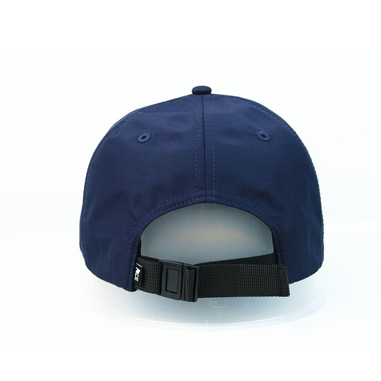 Custom Logo 6 Panel Plastic Buckle Navy Blue Ace Thick Plate Printing Sports Baseball Hats