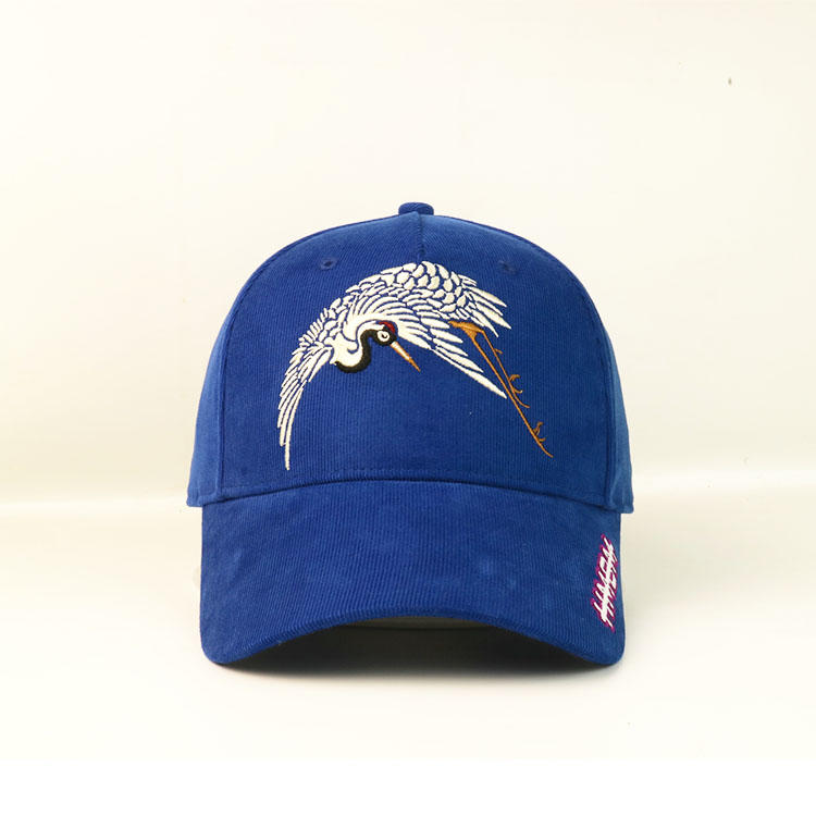 Special material cordoury blue 6panel falt embroidery crane logo baseball caps hats