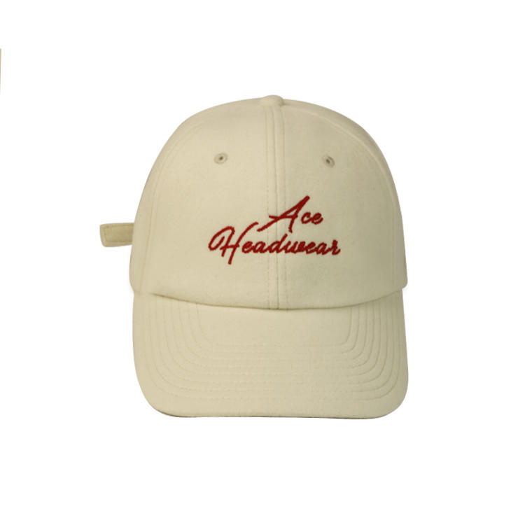 Wholesale Custom Logo Dad Cap Embroidered Baseball Caps Hat Polyester Wool Blended Fabric