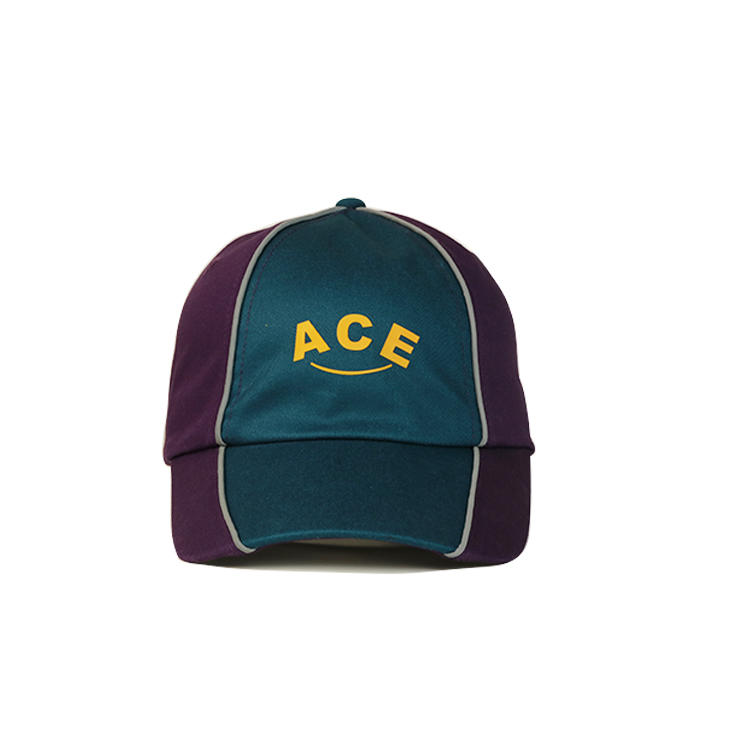 ACE Brand customized logo printing purple and green 6panel sports baseball hats caps