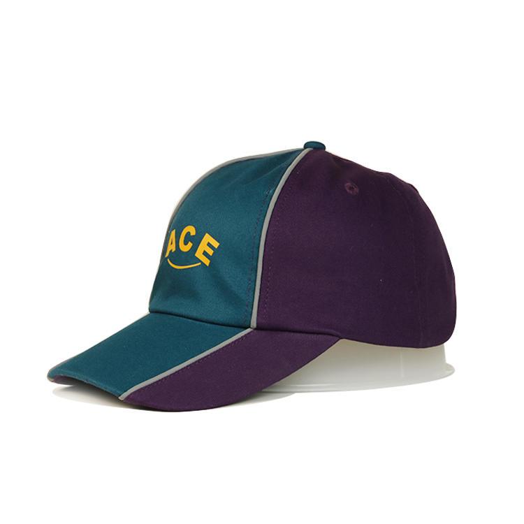 ACE Brand customized logo printing purple and green 6panel sports baseball hats caps
