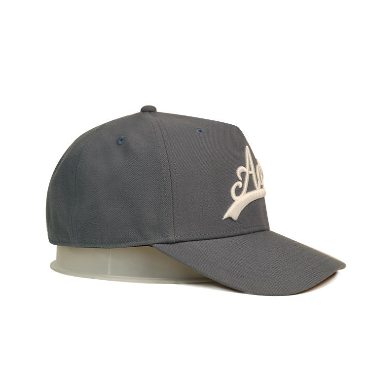 High quality 3D embroidery ACE logo grey baseball caps hats