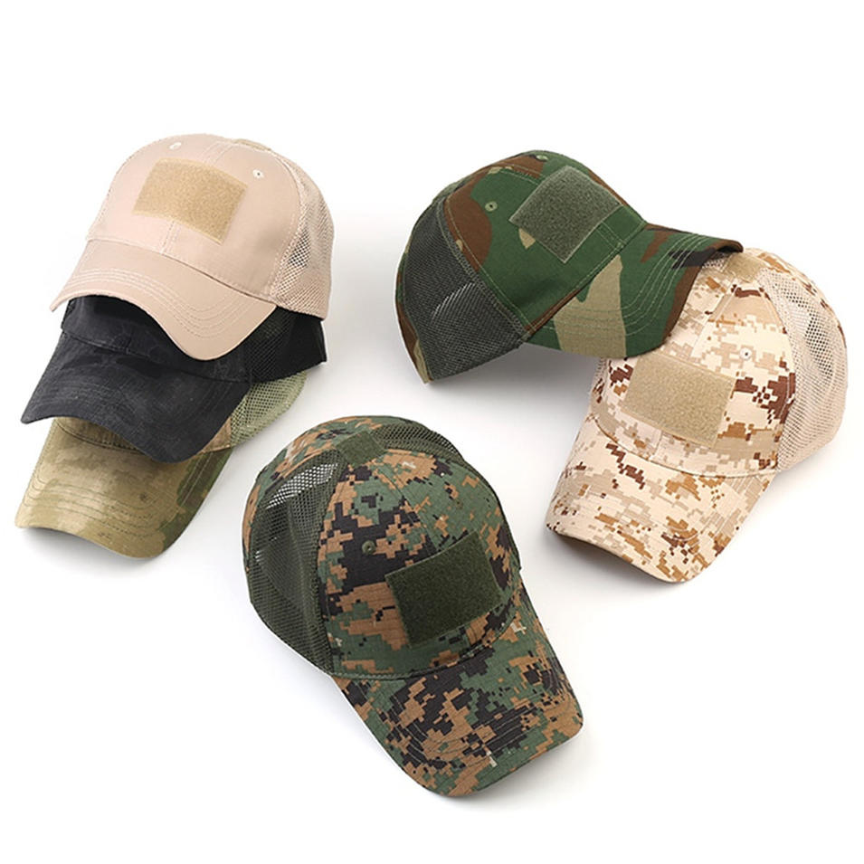Tactical Embroidery Patch Trucker Cap Operator with USA Flag Camouflage Hoop Loop Closure Mesh Baseball Cap