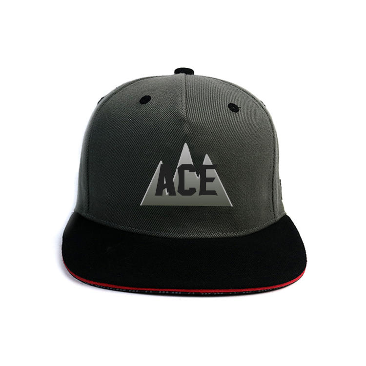 Mix color black and grey 5panel ACE custom printing logo snapback hats caps